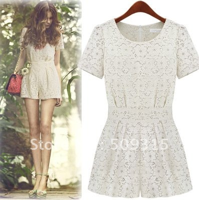 Summer shorts 2012 summer british style high waist short culottes lace short-sleeve jumpsuit culottes