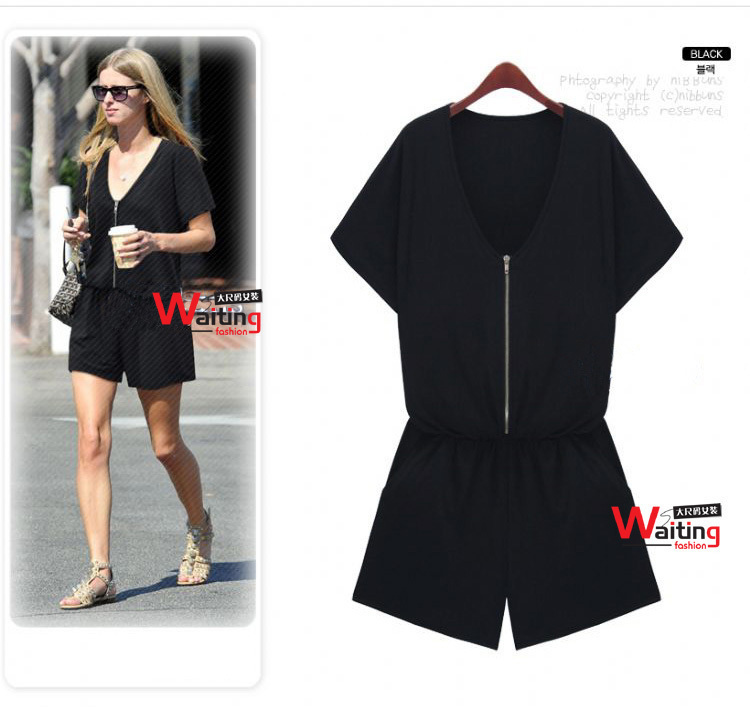 Summer Women Fashion Plus Size Romper Short Sleeve Jumpsuit Overalls Black Color XL/XXL/XXXL Freeshipping