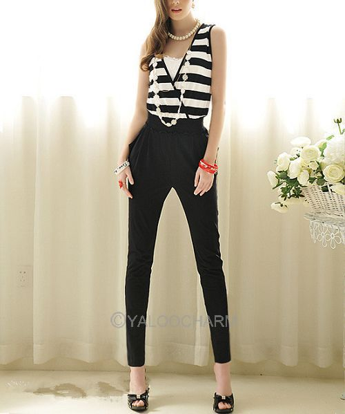 Summer Women Jumpsuit Tank Sleeveless Overall Casual Strips Jumpsuits Black Pants Rompers 70304 -70307