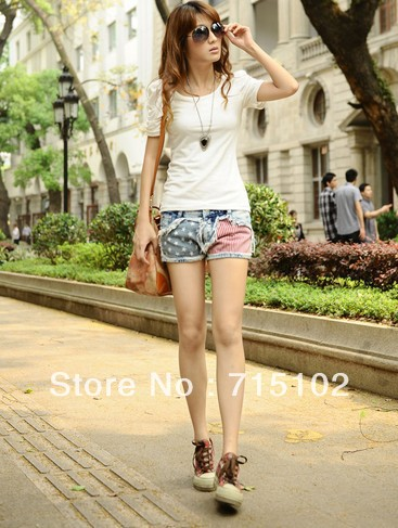 Summer women's American flag stitching jeans shorts, hot pants creative fashion joints cool hit color