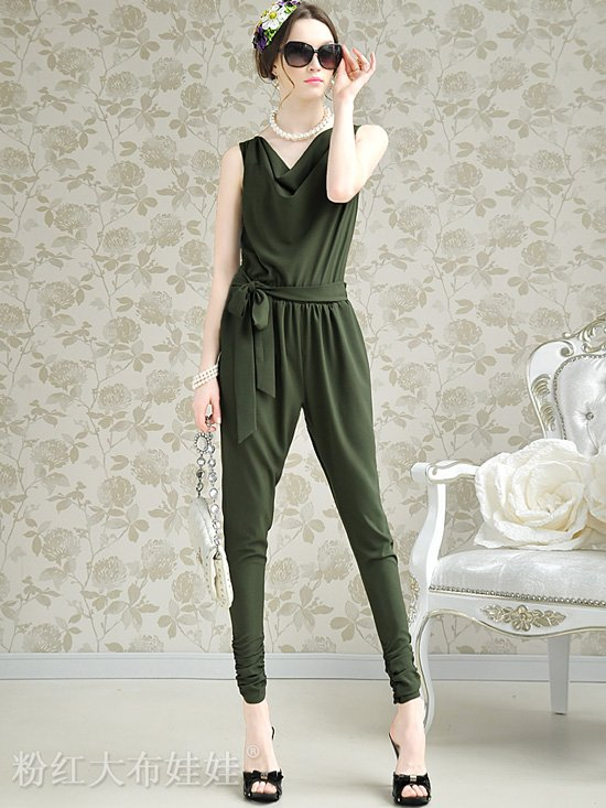 Summer Womens Fashion Loose Sleeveless Pile Neck Jumpsuits Pants Green/Red F2946