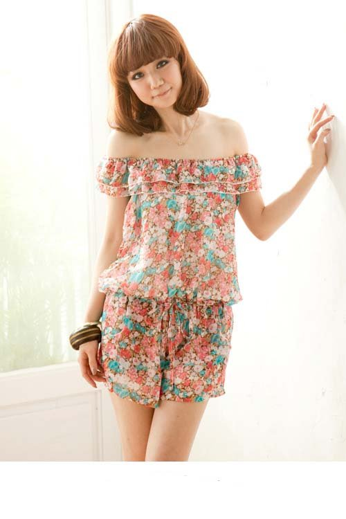 Summer Womens Fashion Sweet Classic Flowers Printing Chiffon Short Jumpsuits Pants E7102