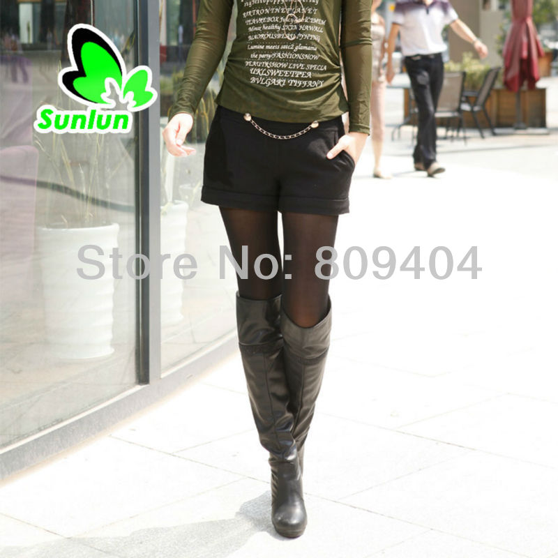 Sunlun Free Shipping Ladies' Fashion Woolen Little Shorts Women Trousers Two Colors Available SCW-11039