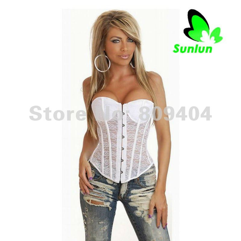 Sunlun Free Shipping Ladies' Sexy Lace Perspective Corset G-String Corset Top