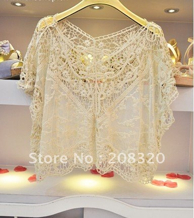Sweater for Women 2012 Hot Sale New Style Gorgeous Crochet Hollow Knit Shawl Pullover Sweater Vest Beige Color One Size