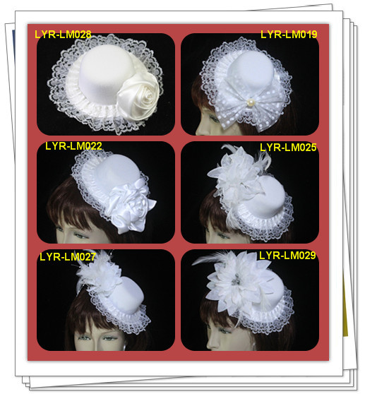 Sweet Flannel With Flower Design And Lace Wedding Bridal Hat/Headpiece/Party Hat HH001 Free Shipping