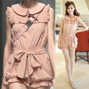 Sweet Princess Floral Crew Neck Short Sleeve Bowknot Chiffon Jumpsuit Romper