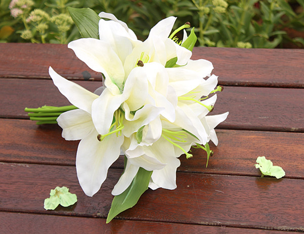SWEETDAY Pink white Lily Bride bouquet wedding flower