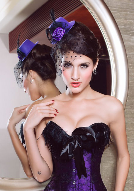 SWEETDAY purple hat with black veil  mini top hat feather fedoras