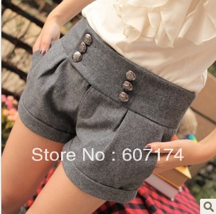 Sweety women's fashion double breasted woolen shorts woolen boot cut jeans Size:S-XL #2344