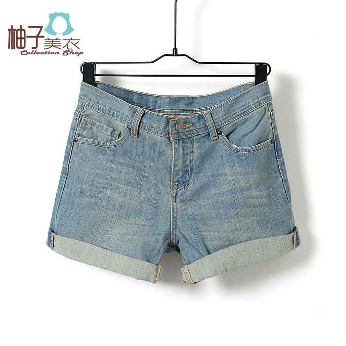 T-844-029 spring and summer 2012 new arrival fashion women's fashion mid waist casual all-match roll-up hem denim short trousers