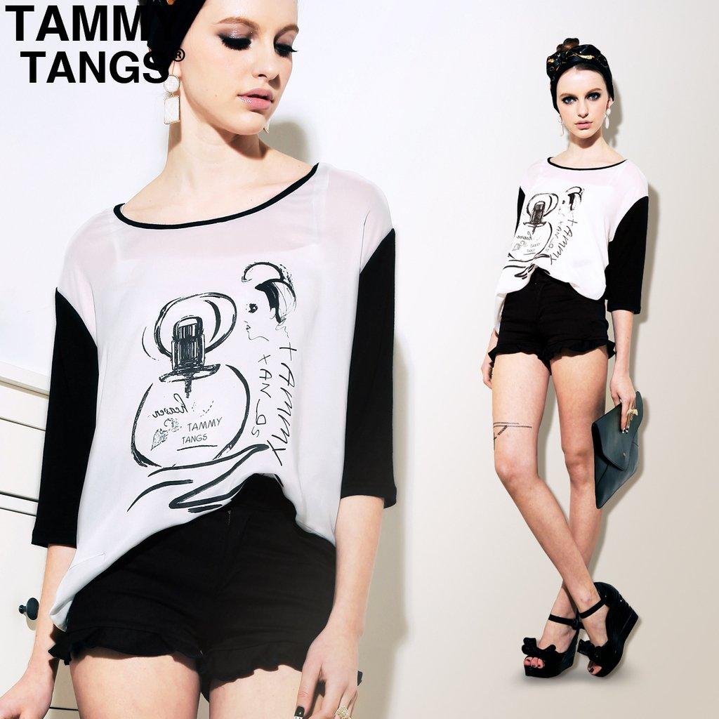 TAMMY TANGS sugar 2012 spring summer vintage candy color black scalloped shorts slim hip