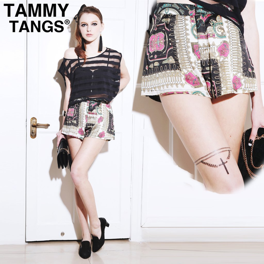 TAMMYTANGS 2012 summer women's vintage vivi silk scarf skorts shorts short skirt female
