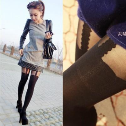 TBW004 2013 fashion Ayomi lace spaghetti strap stockings tattoo pantyhose Mock Suspender Tights garter leggings for women