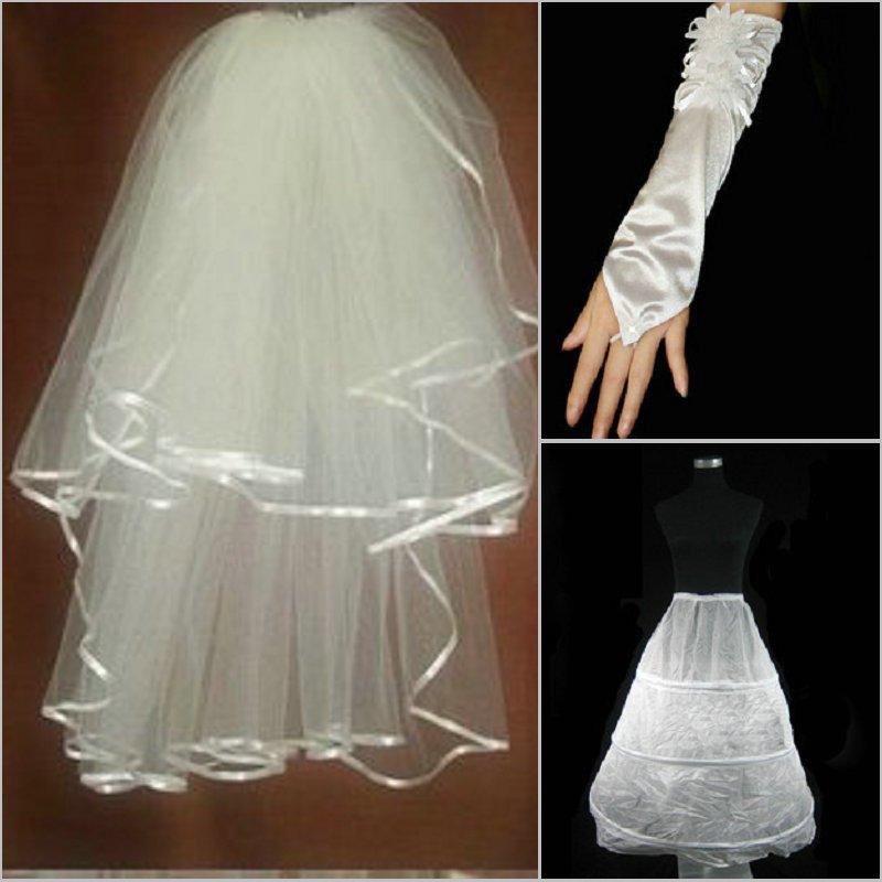 The bride wedding dress formal dress cheongsam wedding gloves veil pannier bundle 013