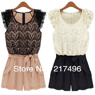 The chiffon lace piece pants shorts skirts female summer clothing factory direct sales large size piece pants jumpsuit