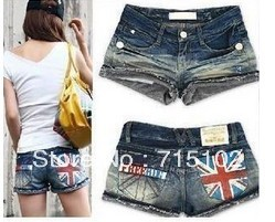 The jeans shorts Women the British Lunmi word flag zipper summer was thin