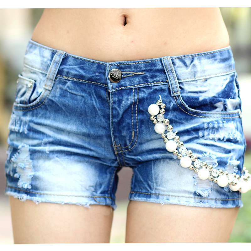 The New Influx Of People On The Streets Washed Wear White Denim Shorts Hot Pants Free Shipping ID: SLA166