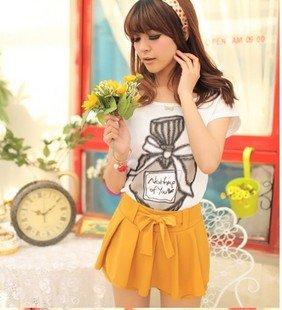 The new lady Slim thin ribbon belt sweet chiffon pleated shorts culottes Q2368 #