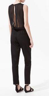The posters shall backless black sleeveless long section jumpsuit spacious leotard back style perspective
