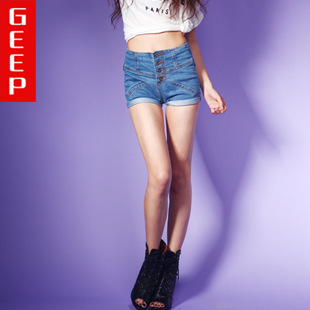 The spot wholesale manufacturers was thin Slim denim shorts multi buckle waist pants mini shorts factory direct