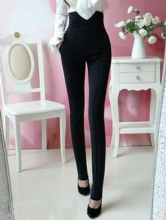 The spring of 2012New Retro cool black Waist Stretch slim pants OL Haren pants trousers