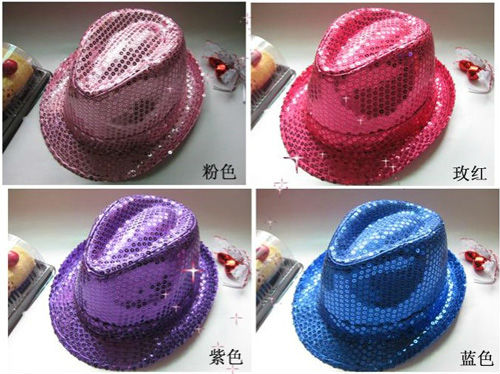 The Stage Cap Sequins Jazz Dress Hats For Men and Women Stage Performances Birthday Cap hat-007