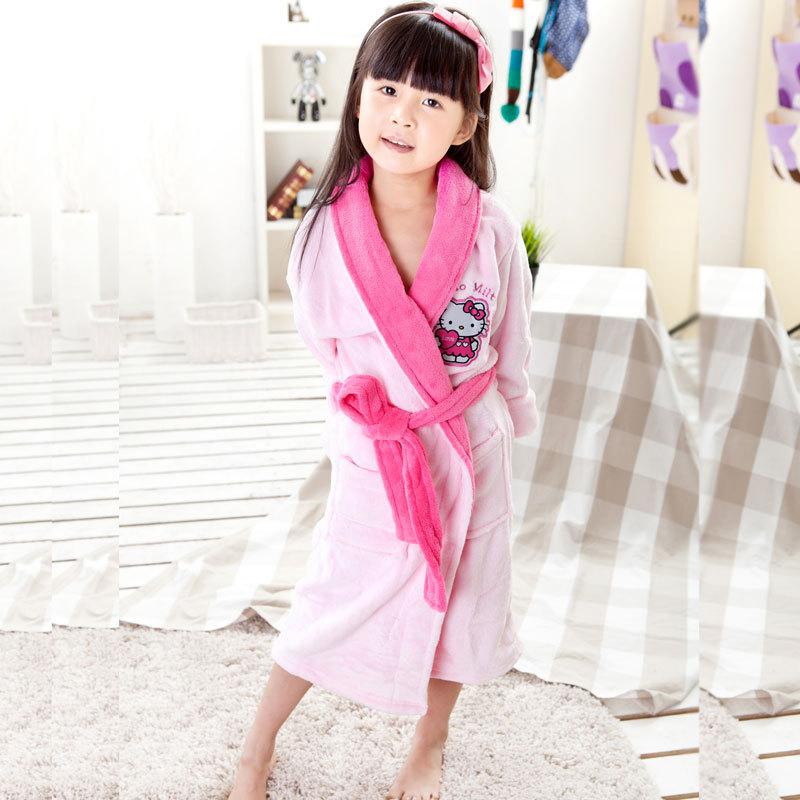 Thick cartoon embroidered female child bathrobe child coral fleece child sleepwear robe 2033