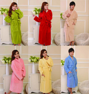 Thick soft lovers design solid color coral fleece robe male women's bathrobes multicolor