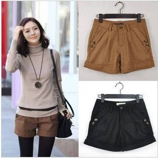 Three Colors 2012 Autumn Winter Women's Wool Straight Boot Cut Plus Large Casual Ladies Shorts S-XXL