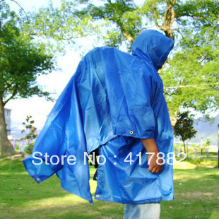 Three-in raincoat can be used as poncho/ rain cover/ mat multifunctional Burberry outdoor raincoat