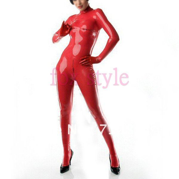 three zip latex full body catsuit in red color