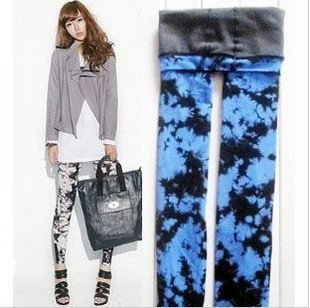 Tie Dye Double Layer Women fashion Warm Leggings Tights Winter Tights Pantyhose very thick