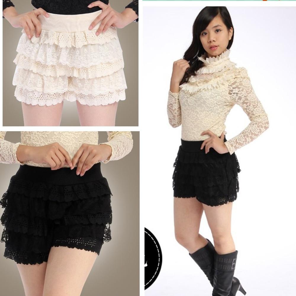 Tiered Girdle Waistband Lace Flower Knit Crochet Mini Shorts Pants Black Beige