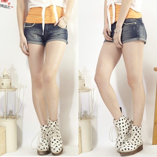 TONLION 2012 all-match distrressed roll-up hem laciness denim shorts female hot trousers thin summer