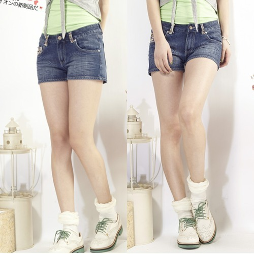 TONLION 2012 summer female decoration bead denim shorts women's jeans shorts all-match shorts