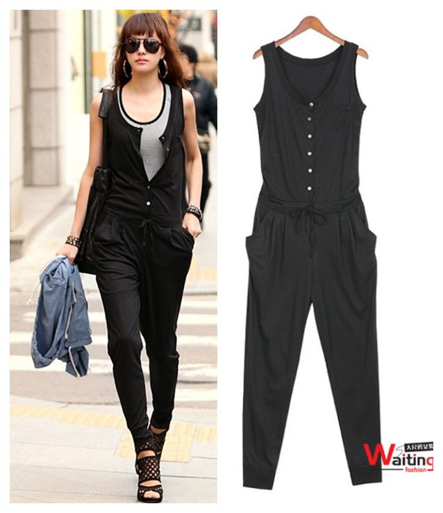 Top Fashion Plus Size Black Color Sleeveless Cotton One-piece Rompers Jumpsuit Dresses Size XL XXL XXXL Free Shipping