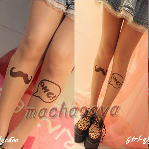 Top Quality Fashion OMG Transparent Tattoo Tights Leggings Pantyhose Stockings