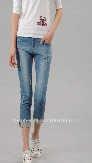 top quliaty 10pcs New torn wash water seven points jeans feet pants 036 ,free shipping by DHL