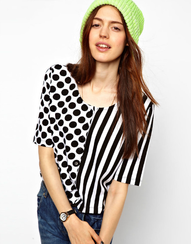 Trade with the single 2013 new European and American style fashion the irregular stripes wave point women's short-sleeved T-shir