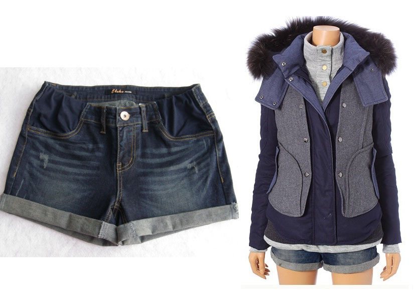 Traditional autumn and winter maternity denim shorts trimesters postpartum