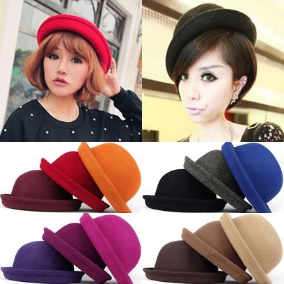 Tvxq dome elegant small fedoras woolen vintage small round hat fashion hat