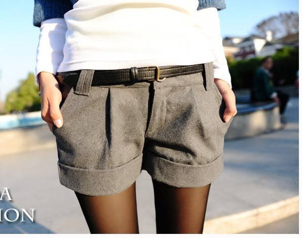 Two Colors 2012 Autumn Winter Women's Wool Turn-Up Straight Boot Cut Plus Large Casual Shorts S-XXL