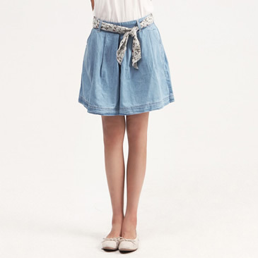 Ultra-thin 2013 100% cotton denim skirt pants shorts puff skirt pants pleated shorts with belt