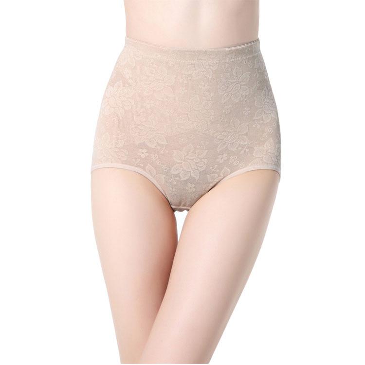 Ultra-thin jacquard mid waist abdomen drawing pants body shaping pants butt-lifting corselets trigonometric panties 2