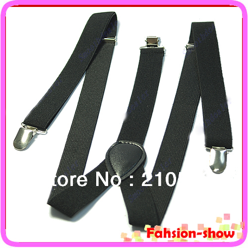 Unisex Clip-on Braces Elastic Y-back Suspenders belt Black/red/yellow/blue/white/hot pink/green/orange Free Shipping
