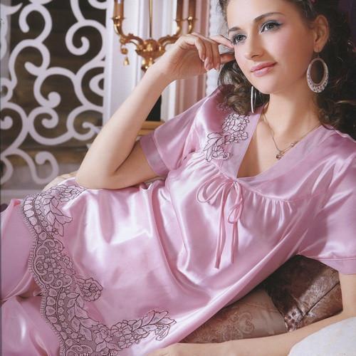 V-neck sexy women's faux silk sleepwear lounge set short-sleeve 891003