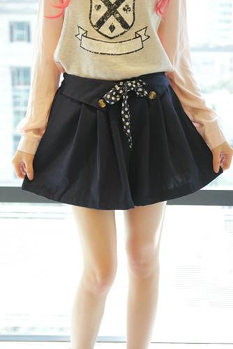 Vintage polka dot lacing high waist culottes shorts female