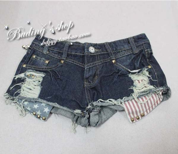 Vintage Shorts For Women Stars Stripe Grinding Hole Open Pocket And Rivet Decoration Short Jeans WF13010405