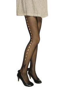 Vintage sidepiece fashion cutout bow pantyhose fishnet stockings cutout socks jacquard socks legging